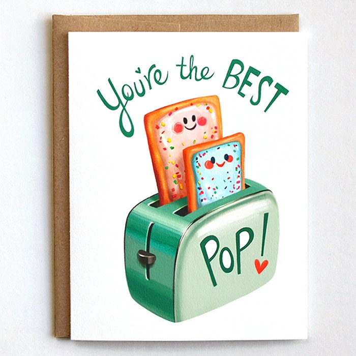 Fathers Day Card Dad Birthday Card Best Pop Pun Card – Birthday Card for Dad