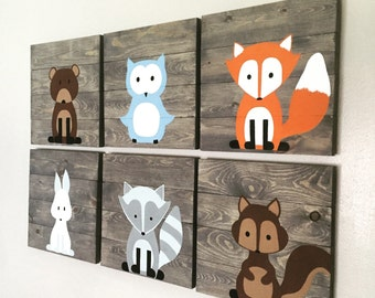 Woodland Creature Nursery Signs Set of 6 rustic pallet signs 14x14 fox pallet sign owl sign bear sign forest animals, woodland nursery