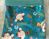 Aloha Monkeys Flannel with Teal Fleece Snuggle Bag
