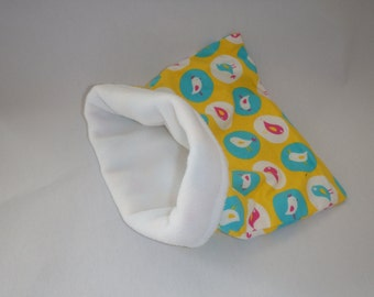 SALE Yellow Birds Flannel with White Fleece Snuggle Bag