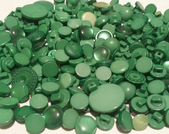"200 Assorted Kelly Green, Grass Green and Emerald Green Shank Buttons, beautiful bulk green shank buttons - multi sizes 1/4"" to 13/16"""