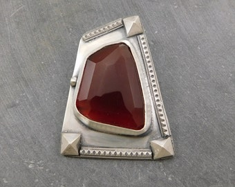 Faceted Carnelian Ornate Modernist Pendant, Oxidized Sterling Silver, Rose Cut Carnelian Geometric Pendant