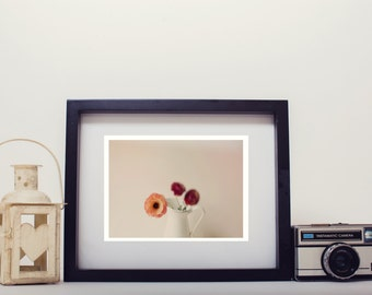 flower photography, photo print, stilllife photo - whimsical fine art photography, flower, ranunculus, lensbaby, white, wall art, home decor