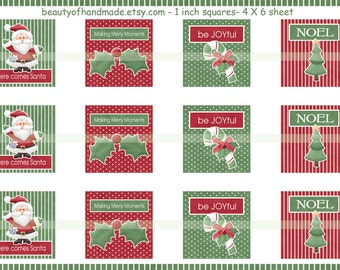 INSTANT DOWNLOAD Santa Candy Cane 4X6 Glass Tile Images digital collage sheet for glass tiles pendants inchies 1 inch square