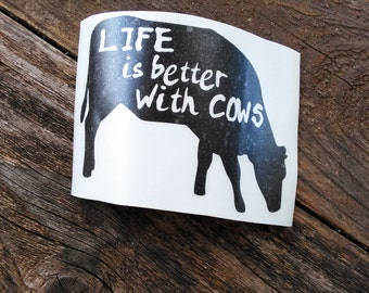Cow Vinyl Decal | Cow Decal | Farm Decal | Life Is Better With Cows | Laptop Decal | Vinyl Decal | Notebook Decal | Glass Decal | Farm Gift