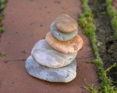 Natural Beach Stone Stack 5 Small Pretty Ocean Rocks Zen Stones Zen Garden Sculpture Wedding Yoga Meditation Gift Beach Home Decor Peace Sea