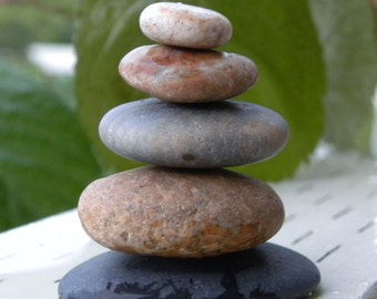 Natural Beach Stone Stack 5 Ocean Rocks Zen Stones Zen Garden Sculpture Fountain Yoga Meditation Father's Day Gift Home Decor Balance Peace