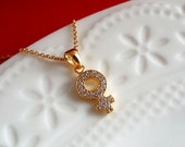 Gold Female Sign Necklace. Female Symbol Necklace. Feminine Necklace. Gold Filled  Dainty Layering Necklace. Shiny Venus Pendant