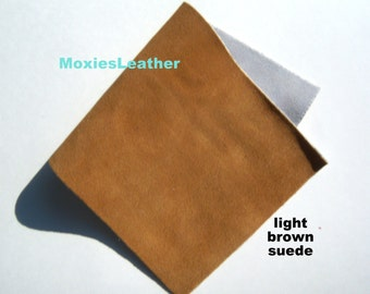 light brown suede - Genuine suede pieces - suede for crafts - soft suede - choose size 4x6 , 6 x 12 , 6 x 6 ,