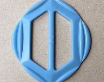 vintage eco friendly baby blue rounded hexagon plastic belt buckle with carved appearance