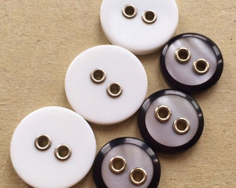 recycle eco friendly white matte and black and pearlized white-gray buttons with metal lined holes--mixed lot of 6