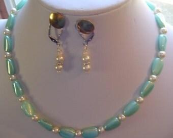 """16"""" Beaded Necklace w/ Pierced Earrings"""