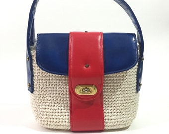 60s white red blue mod woven purse / 1960s shoulder bag with brass hardware