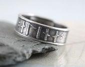 Rune Ring in Sterling Silver - Custom Elder Futhark Runes - Personalised Jewellery