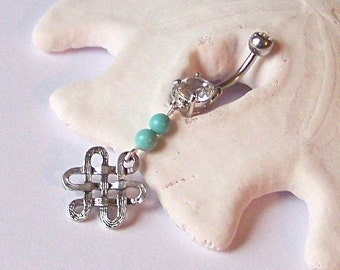 Belly Button Ring - Belly Button Jewelry - Celtic Knot Belly Ring with Magnesite - Barbell or Captive Ring - Choose Your Gemstone Color