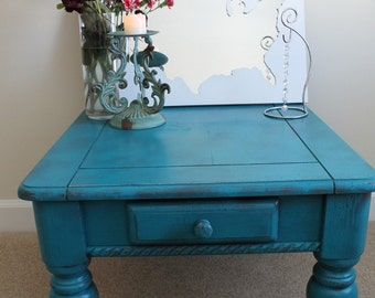 Distressed, Blue Table