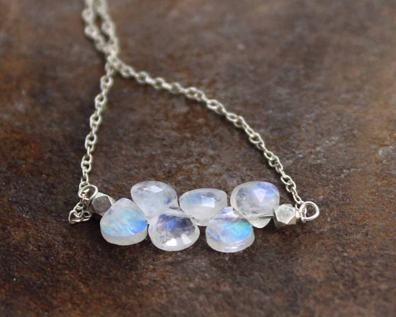 Rainbow Moonstone Bar Necklace.  Birthstone Necklace Options. Gold Filled, or 925 Silver. NS-1919.
