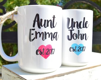 New AUNT or UNCLE NAME Mugs, Est. Year, Cute Pregnancy Announcement