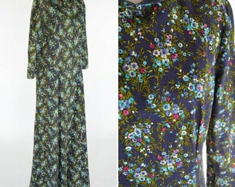 Vintage 1970's Blue Floral Maxi Dress - Long Sleeve Spring Dress - ladies size medium