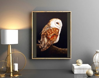 Barn Owl - Large fine art print, 16 x 11 in. Owl painting, watercolour owl, birdpainting, barn owl, owls