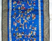 100 Children Chinese Embroidered ~ Colorful Silk panel ~ Décor ~ Rich Blue Background ~ Tapestry