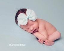 Mint Green Bow, Baby Bow, Headband- Mint Green Chiffon Baby Bow Headband Photography Prop