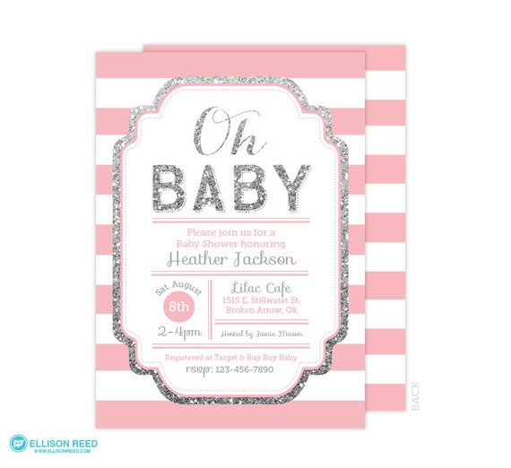 pink and silver baby shower invitation baby shower invite baby