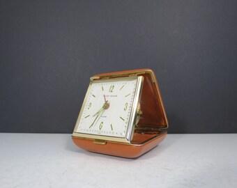 Vintage Phinney Walker Travel Alarm Clock // Orange Case Mid Century Retro Small Clock Nightstand Vacation Portable Clock