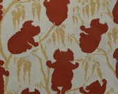 Cotton Fabric, Koala Fabric, Australia Fabric, Animal Fabric, Maroon and Tan, Koala Bears, Fabric Remnant - 1 Yard - CFL1836