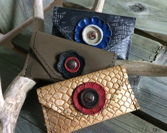 """Unique Leather Card Purses - """"Lizard"""", Olive, Honeycomb Gold Print - Soft Leather Purses - One Of A Kind - Handmade - Gifts for Her"""