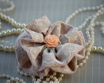 """3"""" Large Fabric Flowers - Vintage Brown & Peach Lace Fabric Flower - Lace Beaded Flower"""