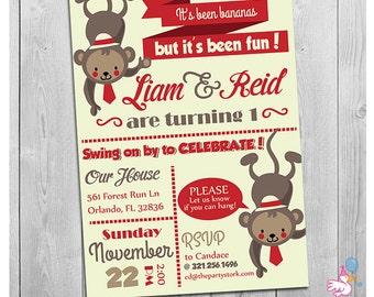 Twin Birthday Invitations, Twin Monkey Invite, First Birthday Invitation Twins, Printable