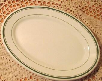 Vintage Wellsville China Restaurant Ware Green Band Platter