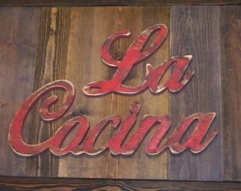 La Cocina Sign Wooden Kitchen Decor Shabby Distressed Wood