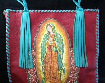 GUADALUPE~ Lipstick Red ~Italian Leather~TURQUOISE~Whip Stitch~Tassels~TOTE