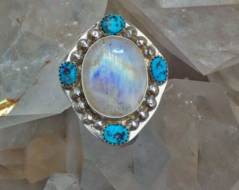 Sleeping Beauty Turquoise with Rainbow Moonstone Sterling Silver Handmade Ring