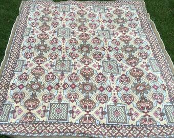 Vintage handwoven bohemian rug tapestry.