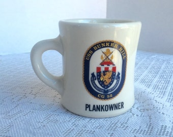 Vintage White Ceramic Restaurant Ware Coffee Cup / USS Bunker Hill Plankowner Mug