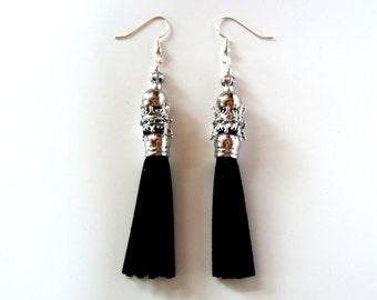 Black Tassel Earrings Faux Suede Fringe Earrings Ornate Silver Earrings Designer Earrings Gift for Her Fashion Earrings Gifts for Girlfriend