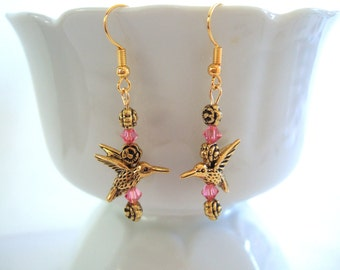 Gold Hummingbird Earrings Bright Pink Swarovski Crystals Gold Roses Delicate Earrings Cool Earrings Gifts for Her Sweet Mother's Day Gift
