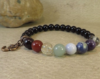 Chakra Balancing Stretch Bracelet - Reiki Energy Jewelry Root Sacral Solar Plexus Heart Throat Third Eye Crown Soul Star
