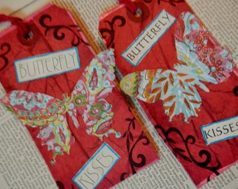 3 LARGE TAGS - Collage and Ink - Butterfly Kisses Red Blue Black