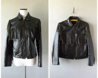Leather Fringe Moto Jacket Vintage 80s Womens Medium Black Fringed Biker Coat Grunge Rocker Motorcycle Coats 1980s Boho Hippie Jackets Hippy