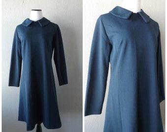 Navy Day Dress Long Sleeve Vintage 60s Ladies Midi Dresses Size M/L Medium Large Peter Pan Collar Retro Sixties Mod Blue Dress 1960s Preppy