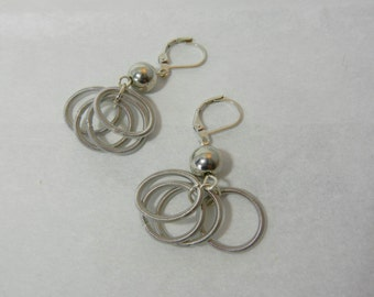 Silver Piano Wire Earrings with silver bead