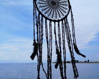 Black dreamcatcher, doily dreamcatcher, minimal dreamcatcher, crochet dreamcatcher, boho dreamcatcher, bohemian home, wall hanging