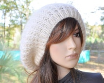 Oversize Mohair Knit Hat, Handknit Slouchy Cream,