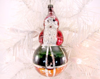 Santa In A Ball Vintage Figural Glass Christmas Ornament Holiday Decoration