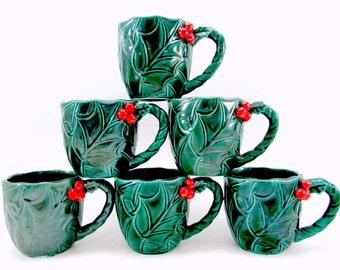 1950s Lefton Holly Mugs Vintage China Christmas Mugs Set Of Six