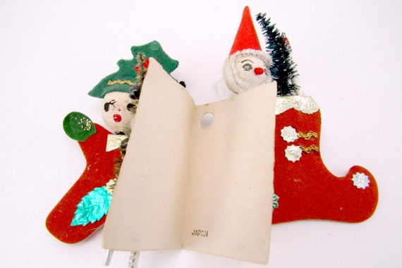 1950s vintage spun cotton christmas package tie ons santa for Vintage christmas craft supplies